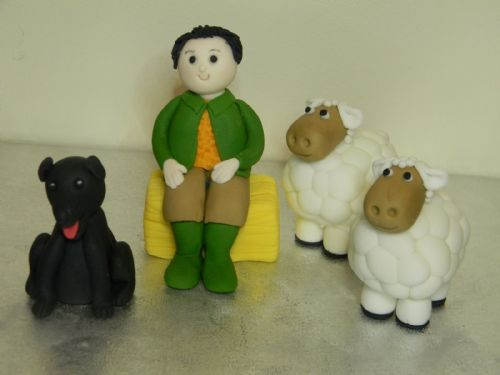 Farmer, 2 Sheep & Dog Cake Toppers